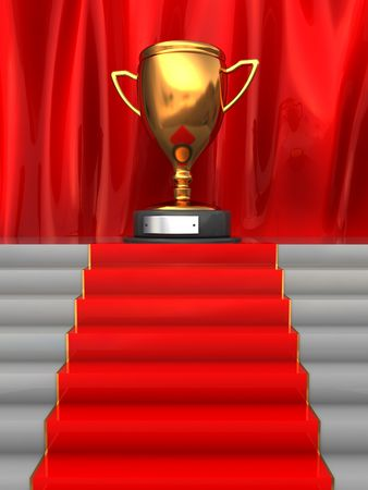 first steps: 3d illustration of stairway to trophy cup with red carpet