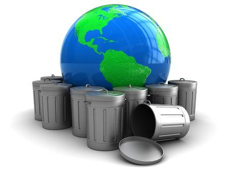 botes de basura: Ilustraci�n 3D de globo de tierra con latas de basura, el concepto de la contaminaci�n del medio ambiente Foto de archivo