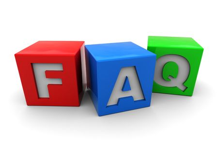 3d illustration of colorful cubes with faq sign illustration