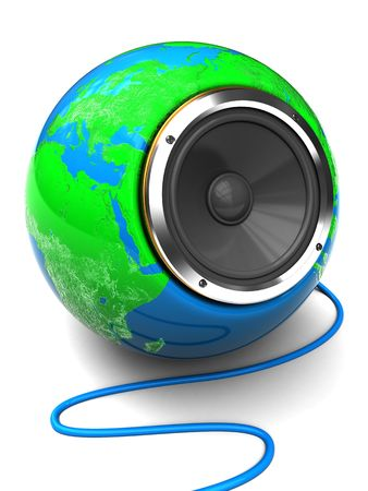abstract 3d illustration of audio speaker in earth globe