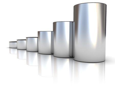 cilinder: illustrazione 3d astratto di acciaio generare grafici su sfondo bianco