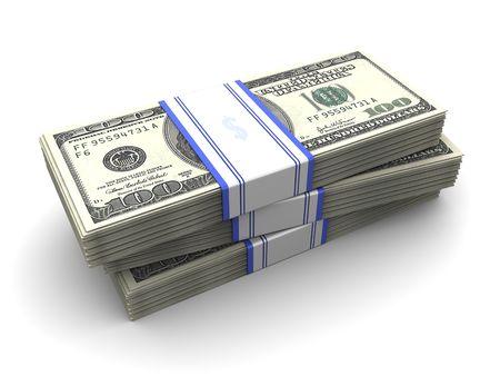 3d illustration of dollars stack over white background Stock Illustration - 6566246