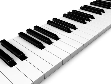 abstract 3d illustration of piano keys white background Stock Illustration - 6566279