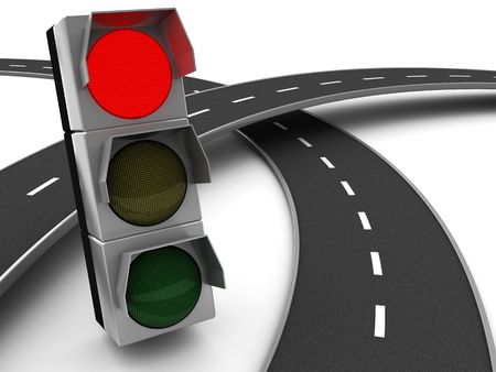 red traffic light: 3d illustration of road cross with red traffic light, over white background