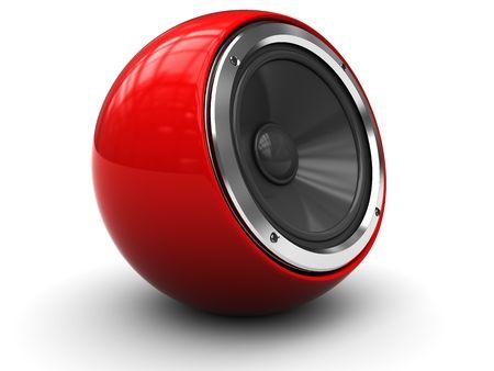 sono: illustration 3D du moderne haut-parleur audio sur fond blanc  Banque d'images