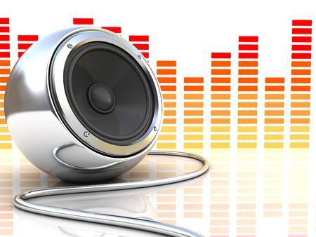 3d illustration of modern audio speaker with music spectrum at background