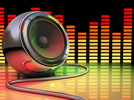 loudness: 3d illustration of audio speaker and spectrum, disco party concept