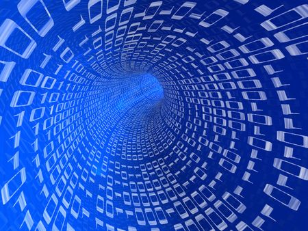 3d illustration of blue tunnel with digits, internet concept Stock Illustration - 6566263