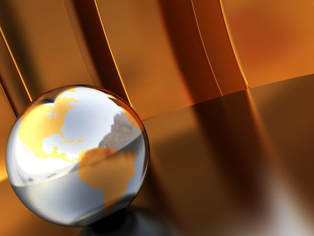 abstract 3d illustration of golden background with earth globe illustration