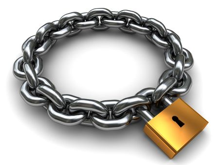 interlink: 3d illustration of locked chain circle over white background