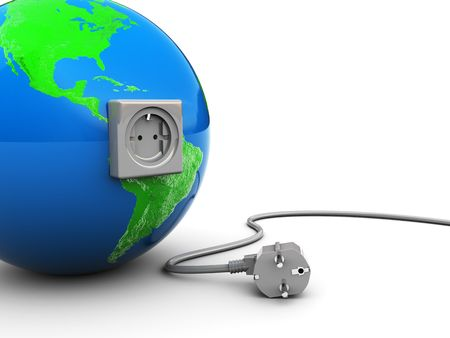 unplugged: abstract 3d illustration of earth globe with outlet and unplugged cable