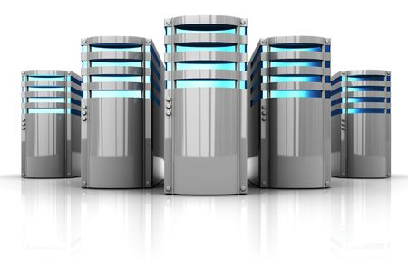network server: 3d illustration of servers row over white background Stock Photo