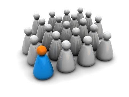 conformity: 3d illustration of crowd symbol with leader Stock Photo