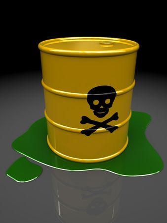 barrel radioactive waste: 3d illustration of toxic barrel over dark background