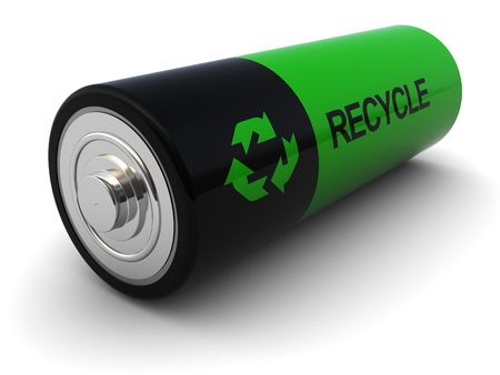 バッテリー: 3d illustration of battery with recycle sign on it