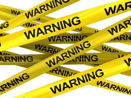 3d illustration of warning ribbons isolated over white background illustration
