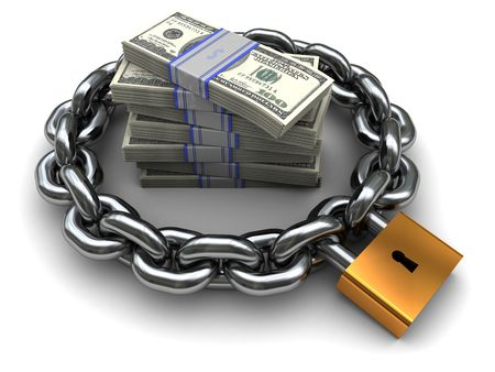 protection concept: 3d illustration of chain and money, business protection concept