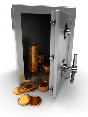 solid silver: 3d illustration of opened safe with golden coins Stock Photo