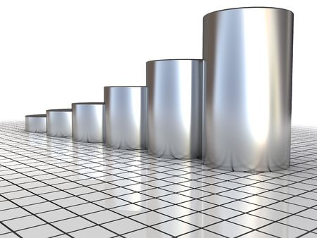 cilinder: illustrazione 3D di acciaio sollevando grafici su griglia di sfondo