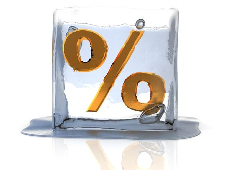 3d illustration of frozen percent illustration