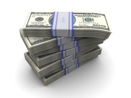 3d illustration of money banknotes stack over white background Stock Illustration - 6602259