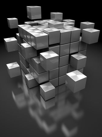broken strategy: abstract 3d illustration of box building from steel blocks Stock Photo