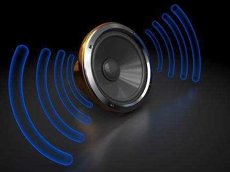 abstract 3d illustration of audio speaker with sound waves illustration