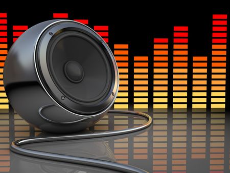 abstract 3d illustration of audio speaker and music spectrum