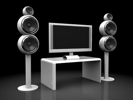 3d illustration of home theater electronics over dark background illustration