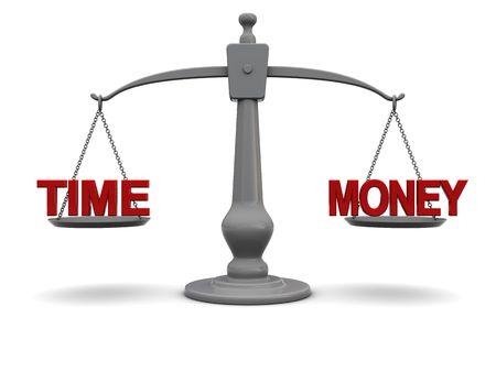 balanza en equilibrio: Ilustraci�n 3D de escala con texto de tiempo y dinero, sobre fondo blanco
