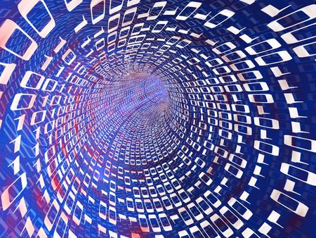 abstract 3d illustration of tunnel with binary code, internet concept illustration