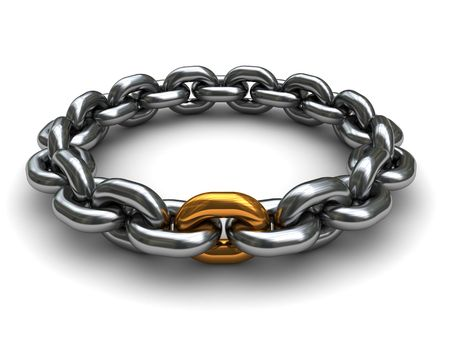stainless steel: 3d illustration of steel chain with one golden link