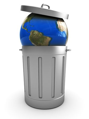 erosion: abstract 3d illustration of earth globe in trash can