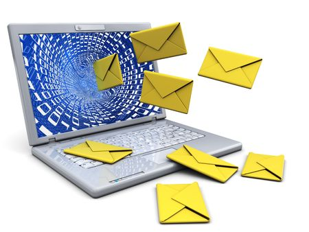 3d illustration of laptop computer with mail envelopes illustration
