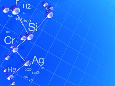 perspective grid: abstract 3d illustration of blue chemistry background Stock Photo