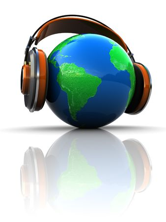 3d illustration of earth globe with headphones, global broadcasting concept illustration