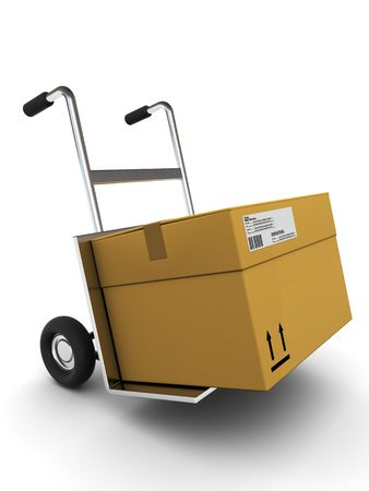 millboard: 3d illstration of cardboard box delivery, over white background
