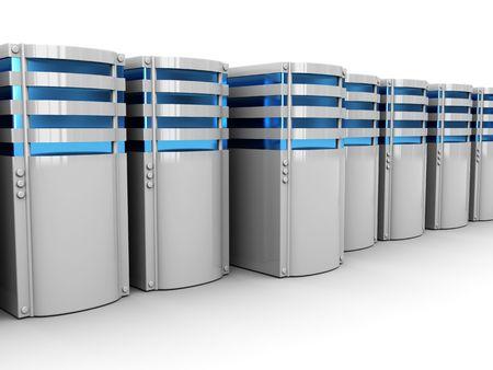 3d illustration of servers row, over white background illustration