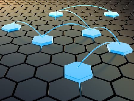 conformity: abstract 3d illustration of cellular network concept