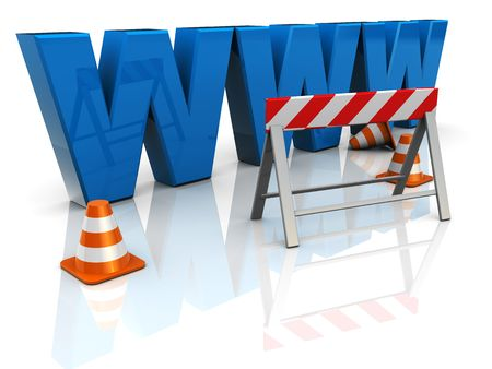 3d illustration of 'www' text construction, internet building concept Stock Illustration - 6675697
