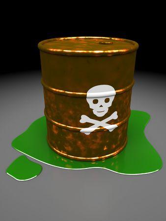 3d illustration of toxic barrel over dark background Stock Illustration - 6675733