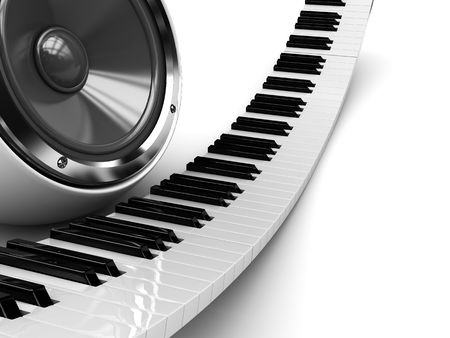 abstract 3d illustration of piano and audio speaker background Stock Illustration - 6675737