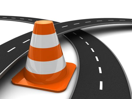 3d illustration of road cross and traffic cone, over white background illustration
