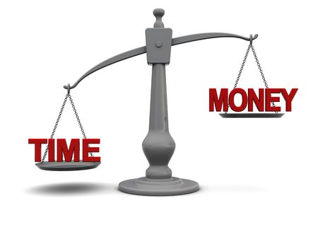3d illustration of time and money signs on scale illustration
