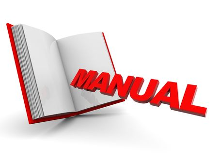 manuales: 3d illustration of opened book with text manual, over white background Foto de archivo