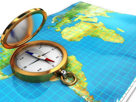 3d illustration of world map with compass on it illustration