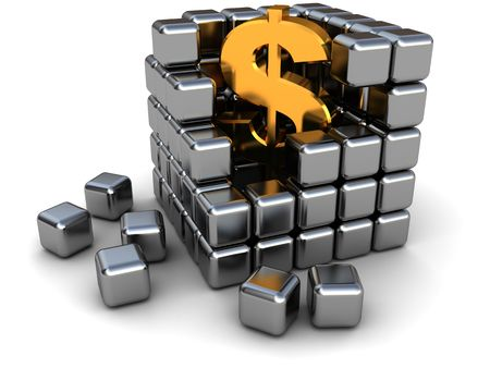 abstract 3d illlustration of dollar sign inside metal cube photo