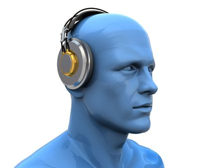 rende: abstract 3d illustration of man head in headphones