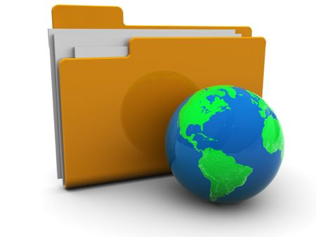 3d illustration of folder icon with earth globe,over white background