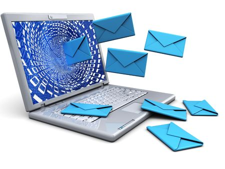 recieve: abstract 3d illustration of laptop with mail envelopes, over white background